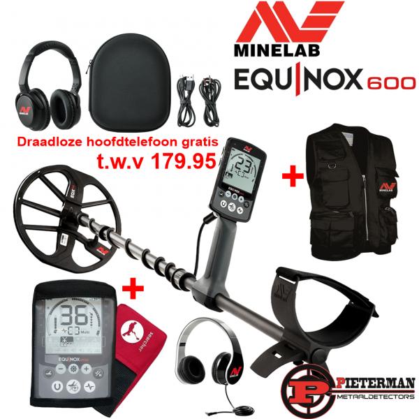 Minelab Equinox 600 met tijdelijk gratis draadloze hoofdtelefoon, regenhoes en vondstenvest