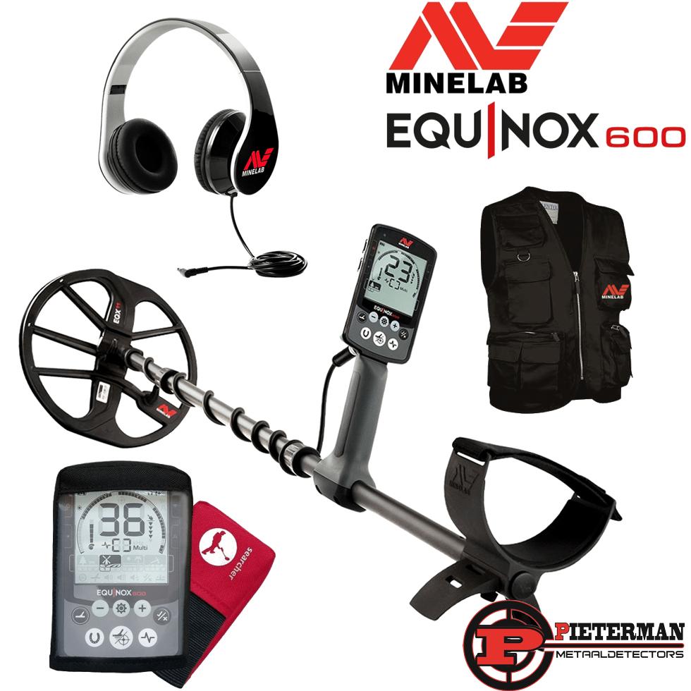 Minelab Equinox 600 met gratis hoofdtelefoon, regenhoes en vondstenvest