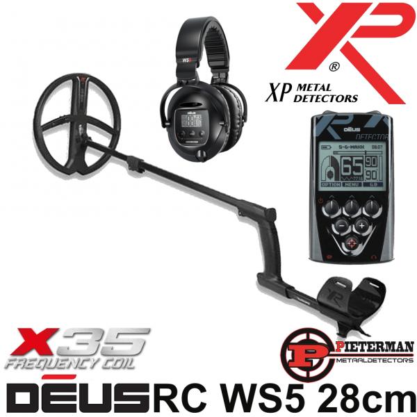 XP DĒUS X35 met 28cm schijf, bedieningsunit en WS5 hoofdtelefoon.