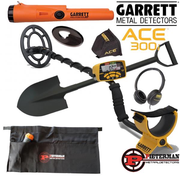 Garrett Ace 300i (weer op voorraad) met garrett AT pinpointer, schep, vondstentas, schotelbeschermer, hoofdtelefoon en regenhoes