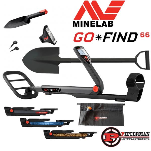 Minelab Go Find 66 pakket. tijdelijk met gratis  schep en vondstentas.