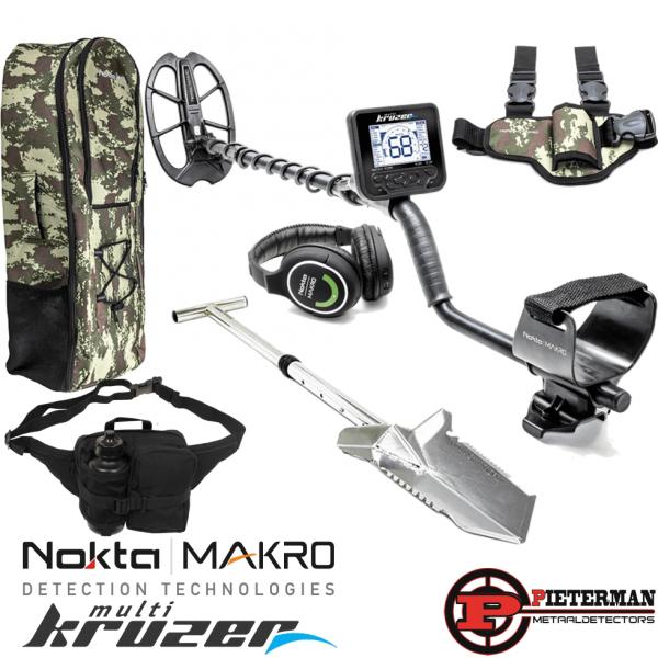 Nokta/Makro Multi Kruzer gratis rugzak, prachtige verstelbare rvs premium digger, vondstentas met bidon, pinpointer beenholster, 2,4 GHz draadloze hoofdtelefoon en cap