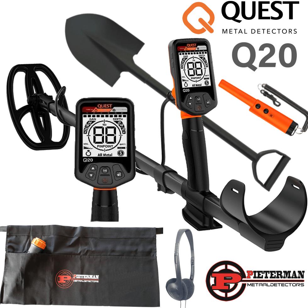 Quest Q20 Mega zomer actie, gratis pinpointer met holster, schep 70cm, hoofdtelefoon en vondstentas.