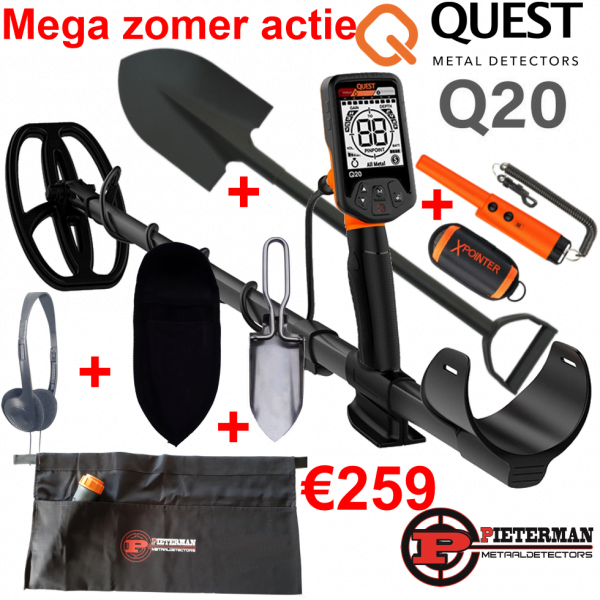 Quest Q20 Mega zomer actie, gratis pinpointer, schep 70cm, RVS grasschepje met holster, hoofdtelefoon en vondstentas.