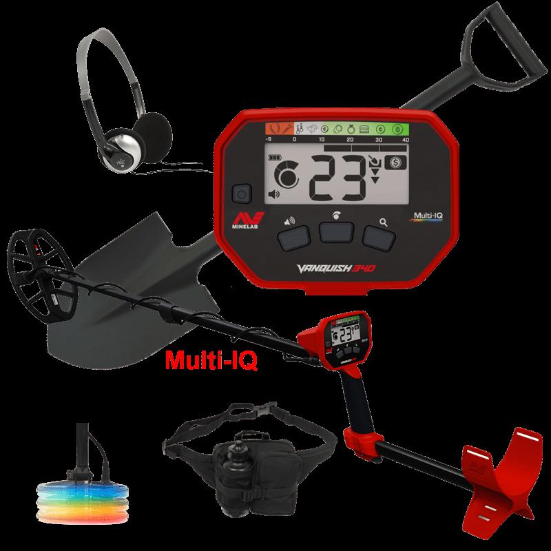 Minelab Vanquish 340 Multi-IQ met tijdelijk gratis hoofdtelefoon, schep en vondstentas.