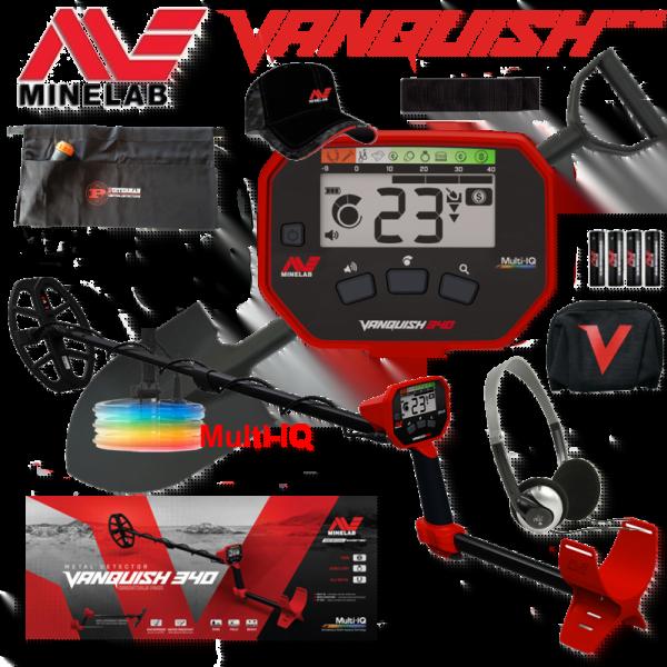 Minelab Vanquish 340 Multi-IQ met tijdelijk gratis Cap, beschermhoes, armsteun klittenband, schep en vondstentas.
