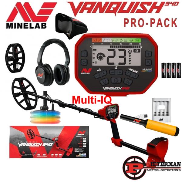 Minelab Vanquish 540 Multi-IQ Pro-Pack, tijdelijk met gratis Pro-find 20 pinpointer, schep en vondstentas