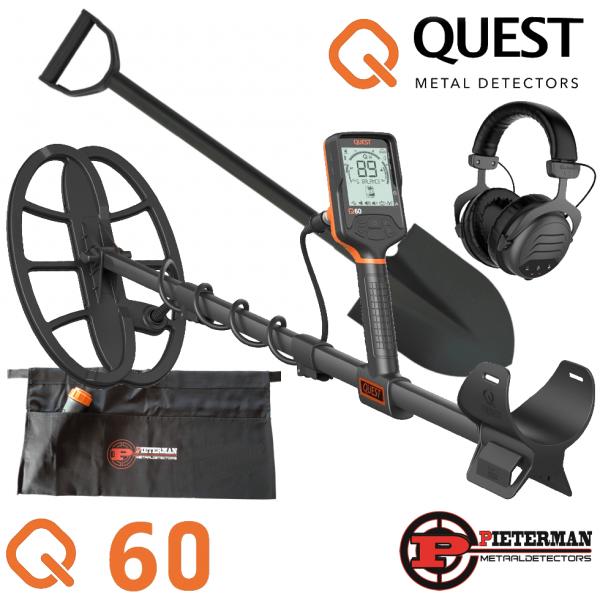 Quest Q60 met draadloze hoofdtelefoon en gratis schep en vondstentas.
