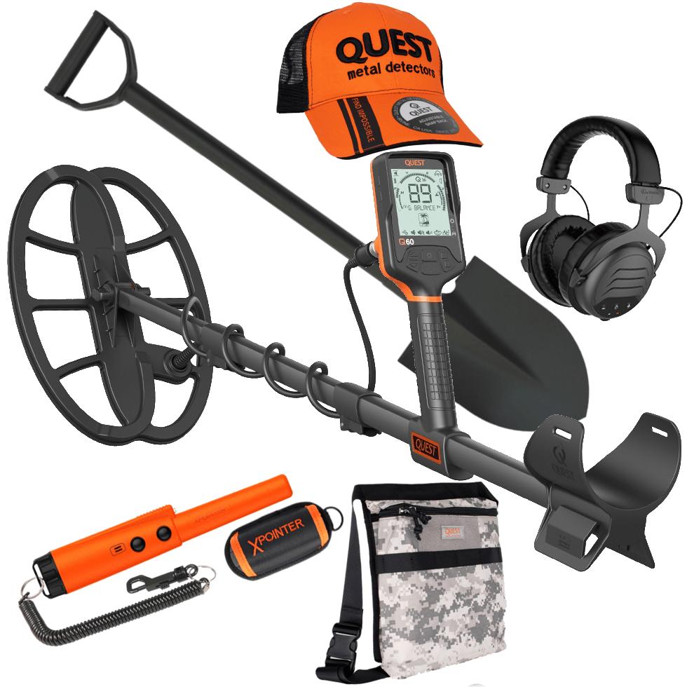 Quest Q60 met draadloze hoofdtelefoon en gratis pinpointer, cap, schep en vondstentas.