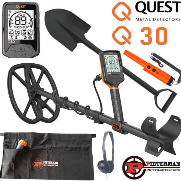 Quest Q30+ met draadloze hoofdtelefoon en gratis pinpointer, schep en vondstentas