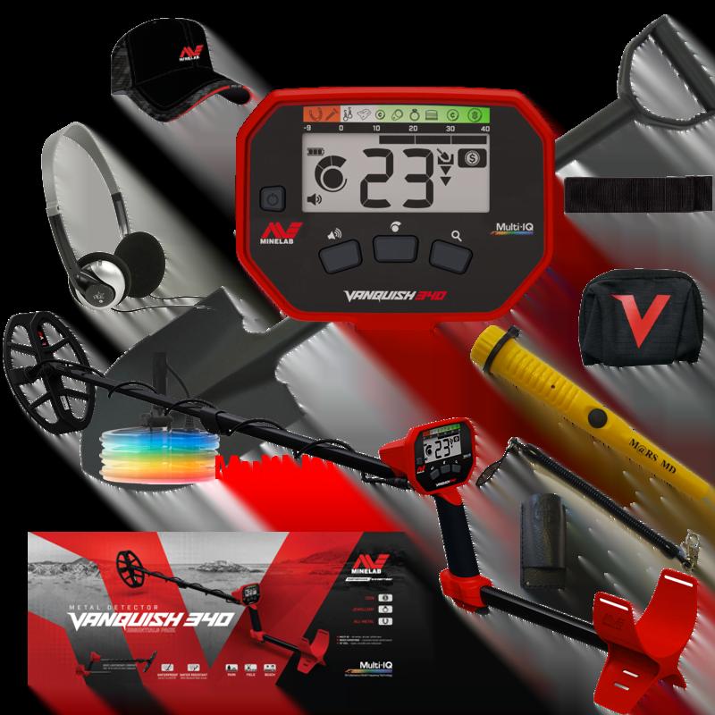 Minelab Vanquish 340 Multi-IQ, met Mars MD pinpointer, cap, beschermhoes, armsteun klittenband, schep en hoofdtelefoon.