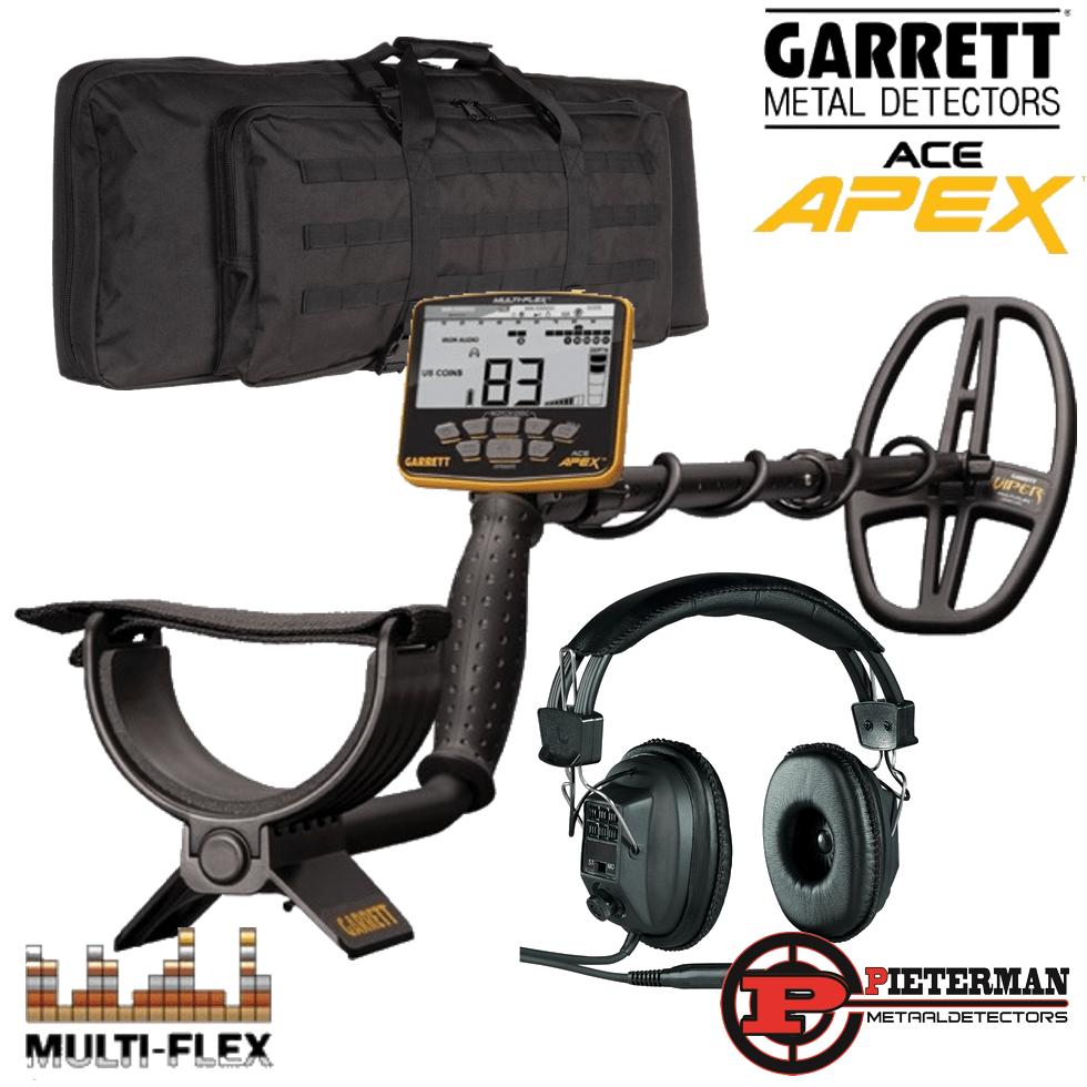 Garrett Ace Apex, met de nieuwste software en professionele backpack gratis.