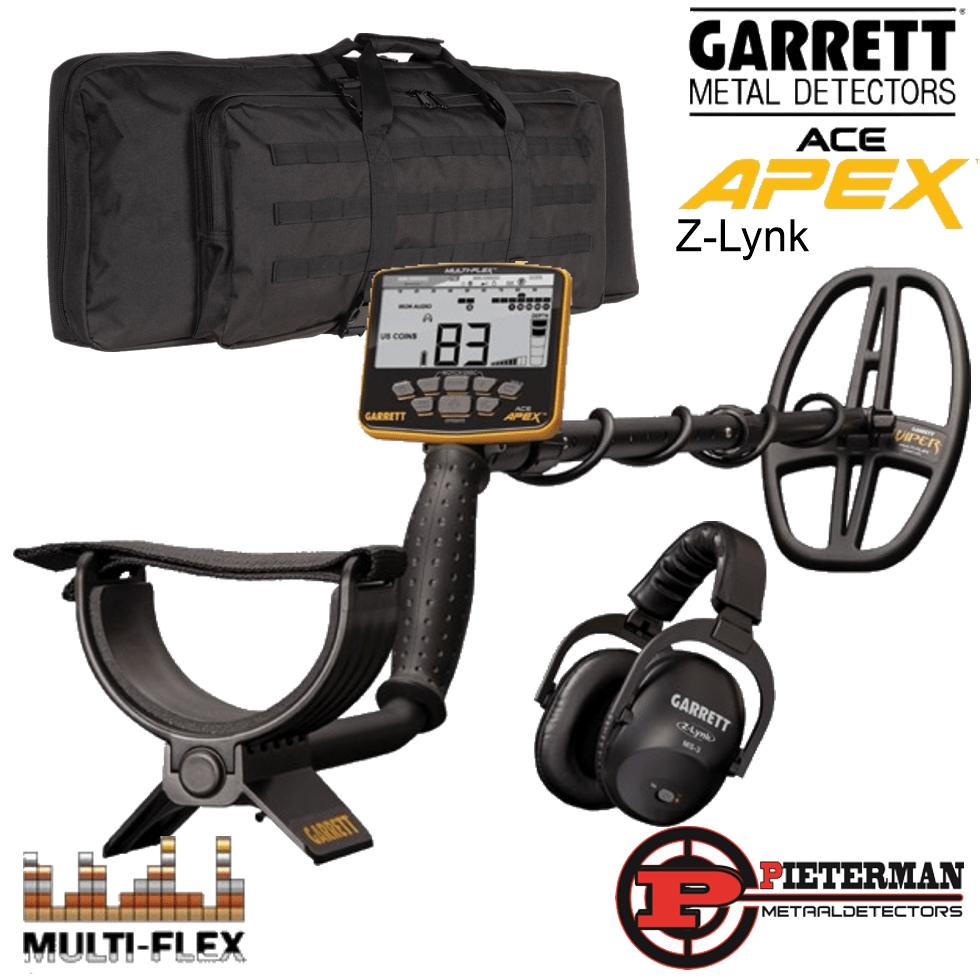 Garrett Ace APEX met de nieuwste software, Z link draadloze hoofdtelefoon en backpack gratis