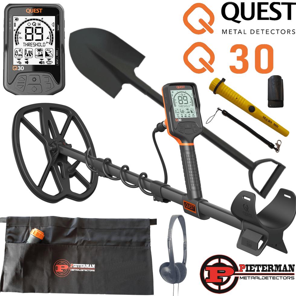 Quest Q30 met Mars-MD pinpointer en gratis schep en vondstentas.