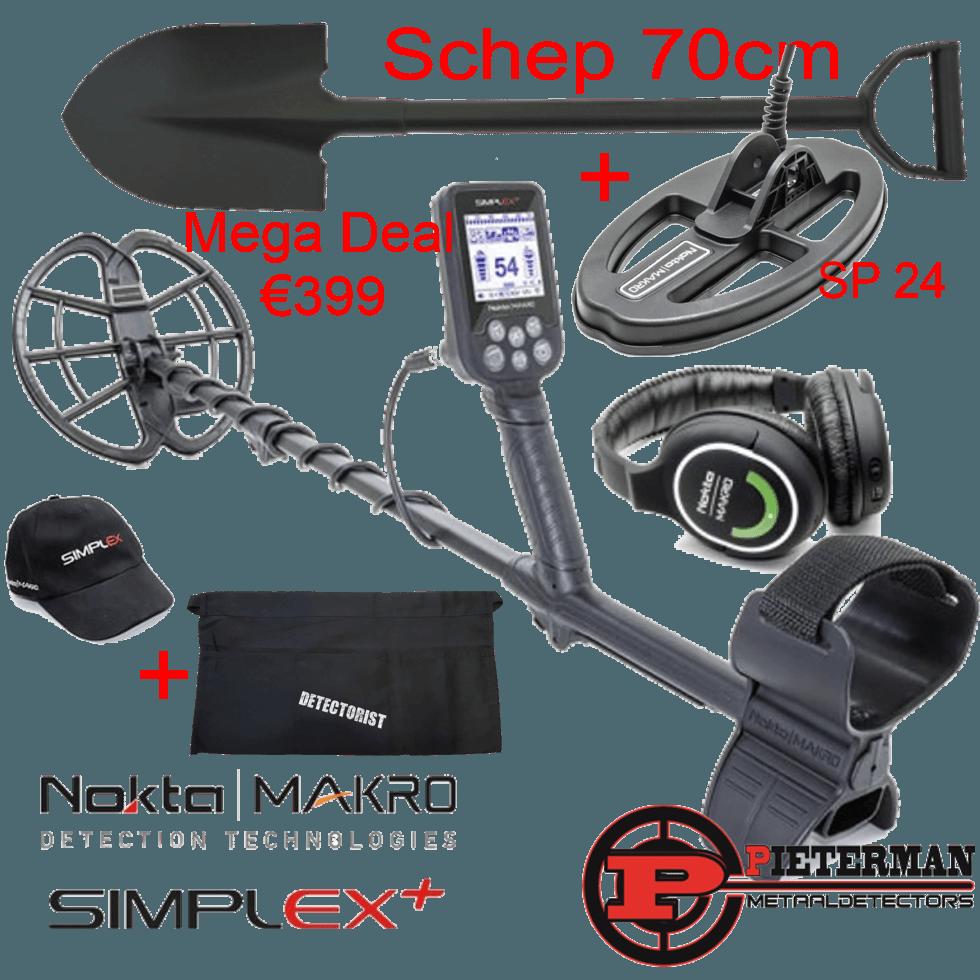 Nokta/Makro Simplex whp, mega actie met extra SP 24 schotel, schep, cap en vondstentas gratis