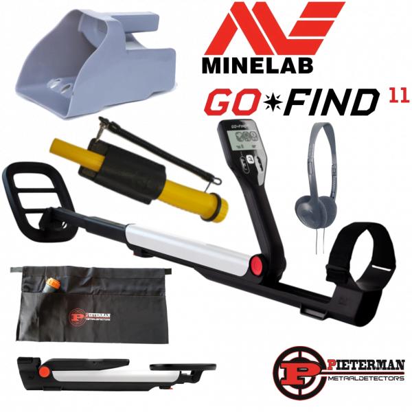 Minelab Go-find 11 speractie met Masrmd pinpointer en gratis vondstentas, zeefschep en hoofdtelefoon.