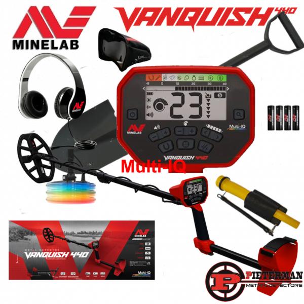 Minelab Vanquish 440 Multi-IQ, met Marsmd pinpointer, schep en vondstentas extra