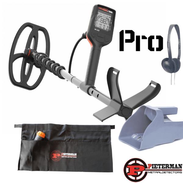Quest X10 Pro waterdichte metaaldetector met gratis hoofdtelefoon, zeefschep en vondstentas.